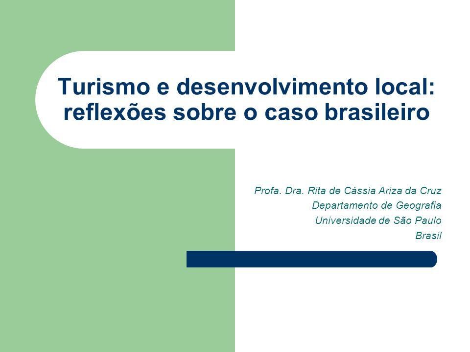 A questão conceitual Desenvolvimento = crescimento econômico Desenvolvimento (qualitativo) # crescimento econômico (quantitativo) Desenvolvimento sustentável Desenvolvimento local Desenvolvimento local do turismo # desenvolvimento local por meio do turismo