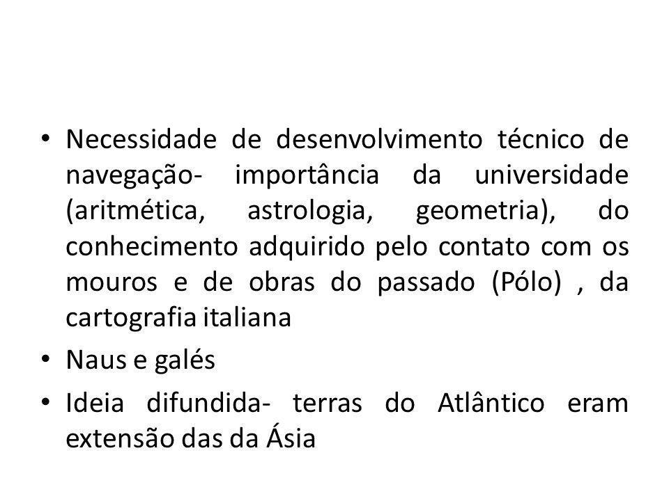 Necessidade de desenvolvimento técnico de navegação- importância da universidade (aritmética, astrologia, geometria), do conhecimento adquirido pelo c