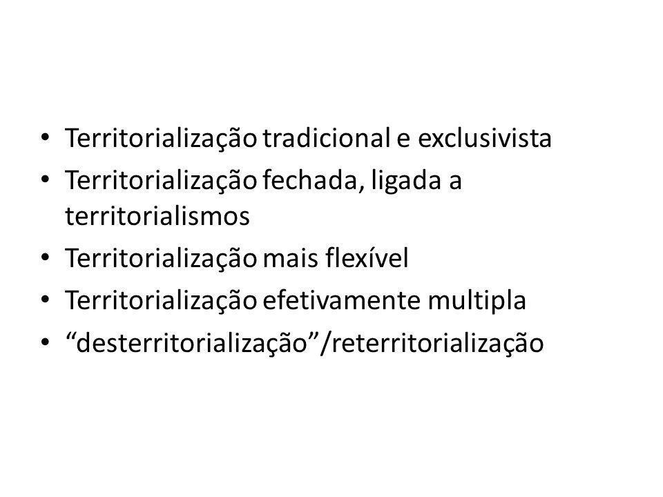 Territorialização tradicional e exclusivista Territorialização fechada, ligada a territorialismos Territorialização mais flexível Territorialização ef