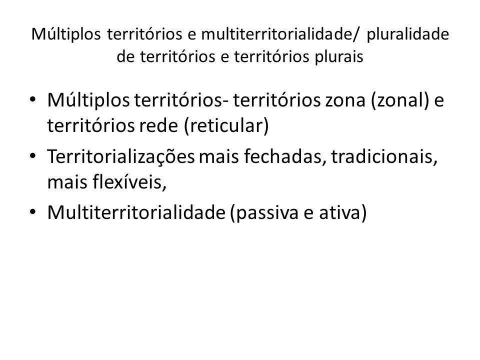 Múltiplos territórios e multiterritorialidade/ pluralidade de territórios e territórios plurais Múltiplos territórios- territórios zona (zonal) e terr