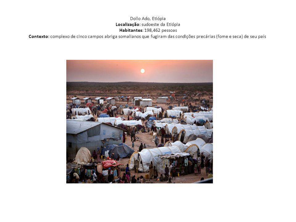 Dollo Ado, Etiópia Localização: sudoeste da Etiópia Habitantes: 198,462 pessoas Contexto: complexo de cinco campos abriga somalianos que fugiram das c