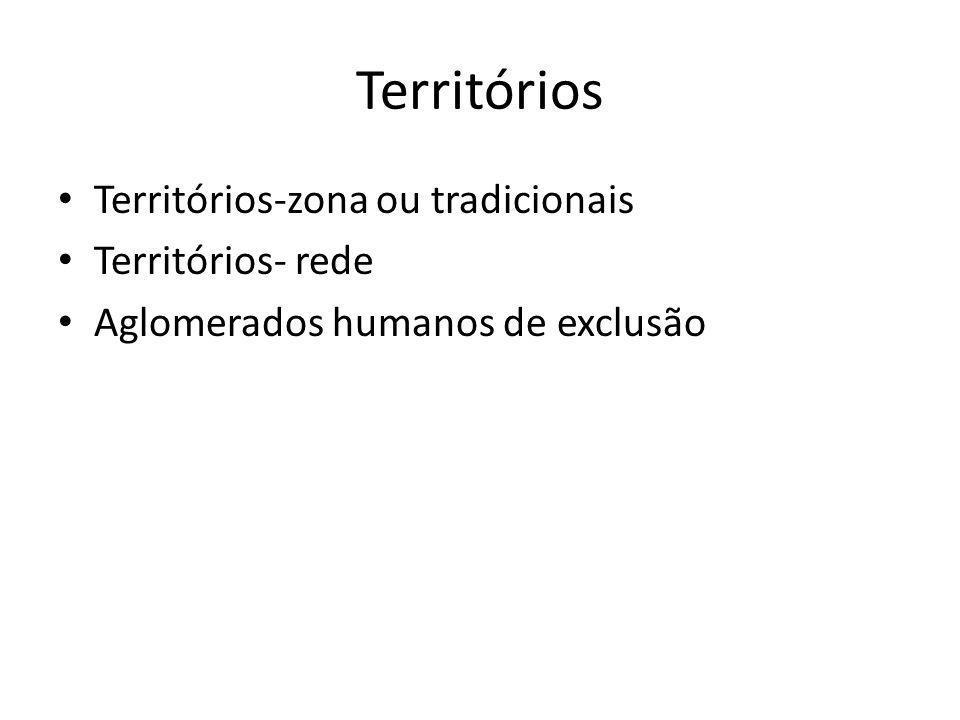Territórios Territórios-zona ou tradicionais Territórios- rede Aglomerados humanos de exclusão