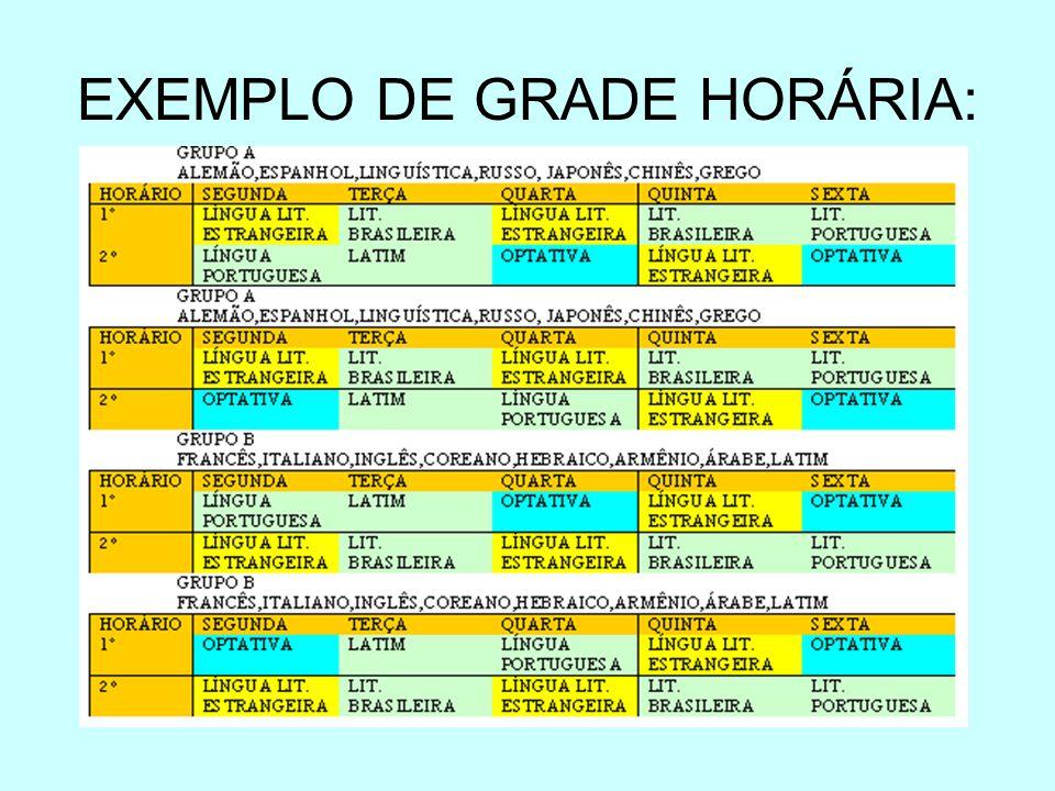 EXEMPLO DE GRADE HORÁRIA: