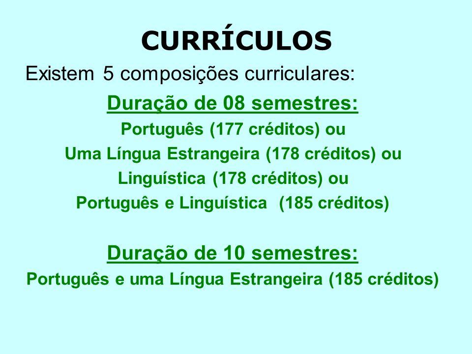 CURRÍCULOS Existem 5 composições curriculares: Duração de 08 semestres: Português (177 créditos) ou Uma Língua Estrangeira (178 créditos) ou Linguística (178 créditos) ou Português e Linguística (185 créditos) Duração de 10 semestres: Português e uma Língua Estrangeira (185 créditos)