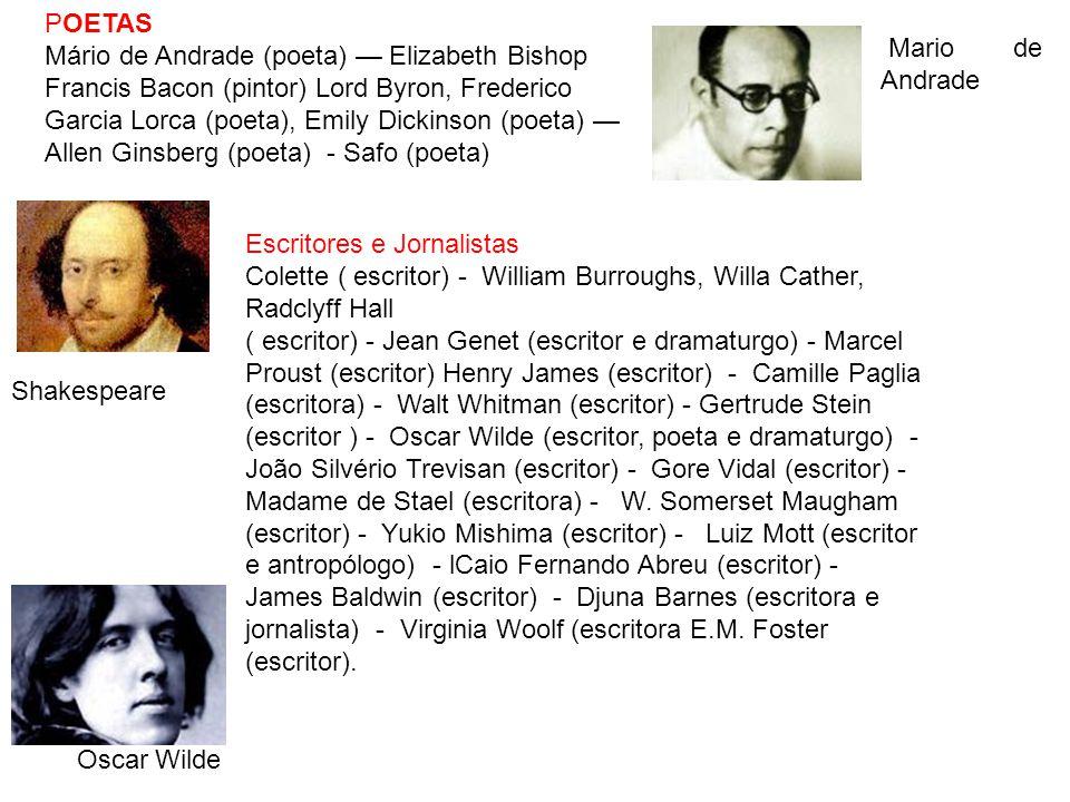 POETAS Mário de Andrade (poeta) Elizabeth Bishop Francis Bacon (pintor) Lord Byron, Frederico Garcia Lorca (poeta), Emily Dickinson (poeta) Allen Gins