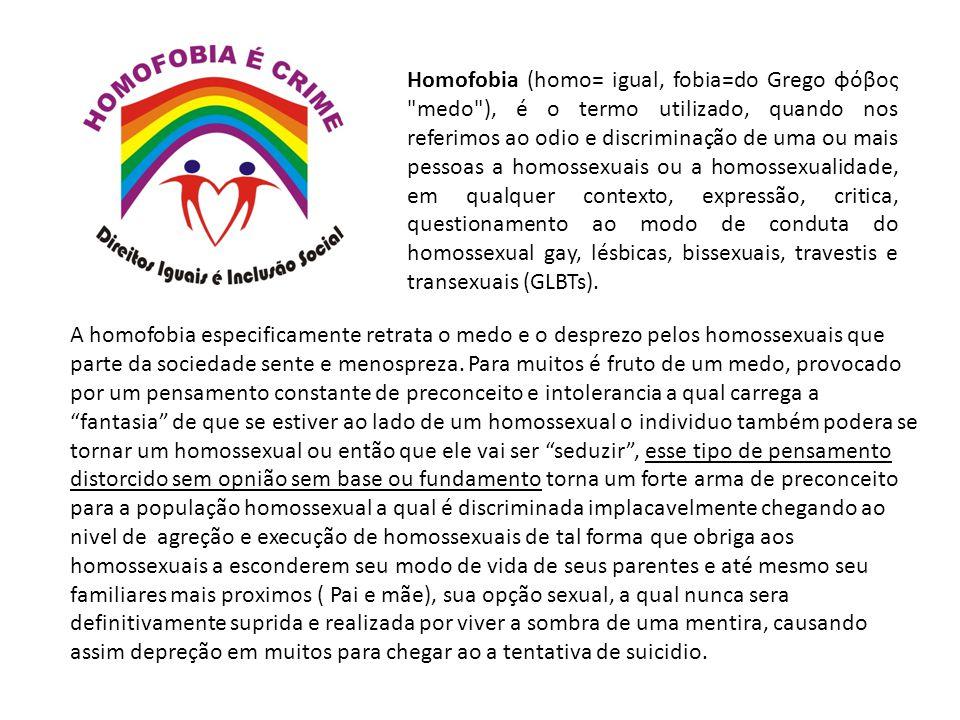 Homofobia (homo= igual, fobia=do Grego φόβος