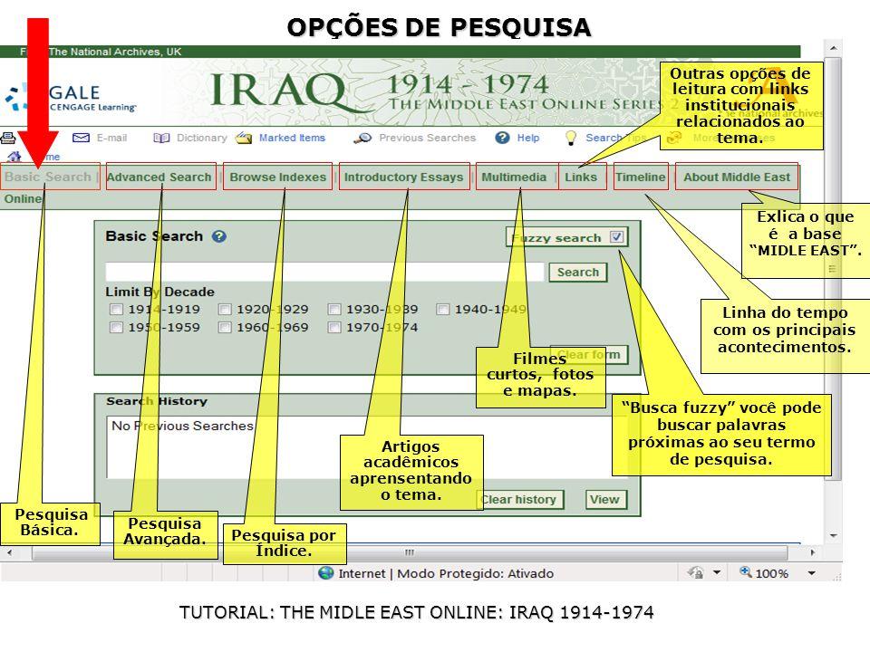 OPÇÕES DE PESQUISA TUTORIAL: THE MIDLE EAST ONLINE: IRAQ 1914-1974 Pesquisa Básica.