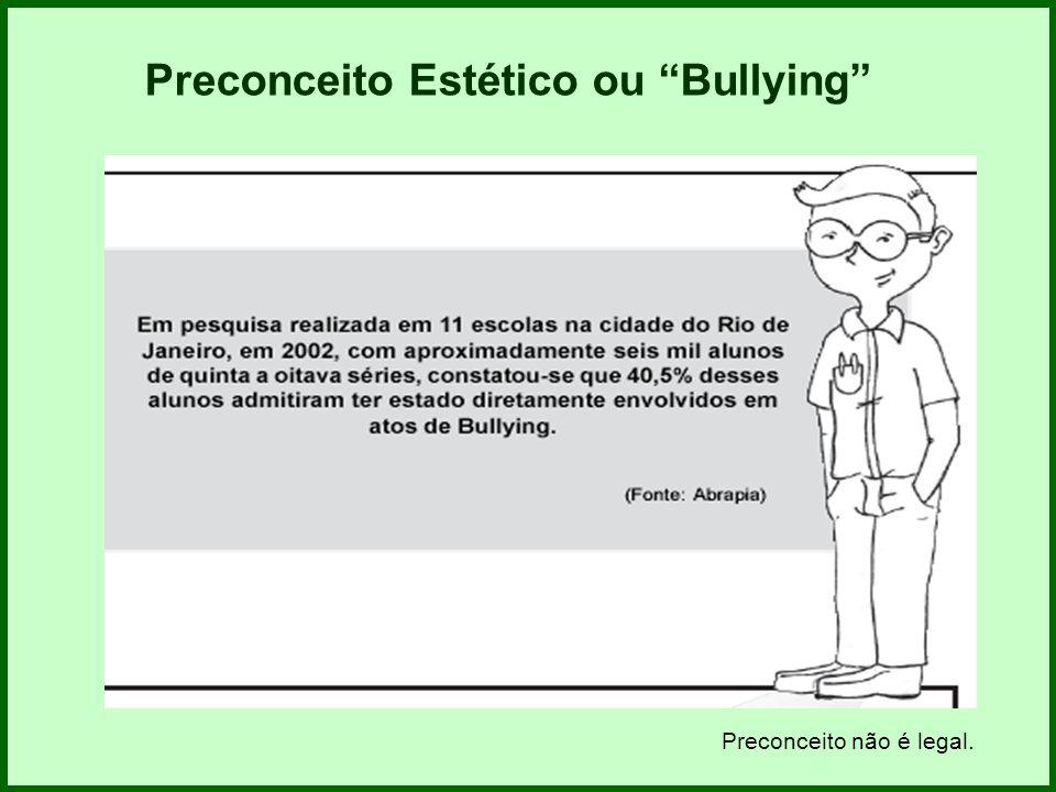 Preconceito Estético ou Bullying Preconceito não é legal.