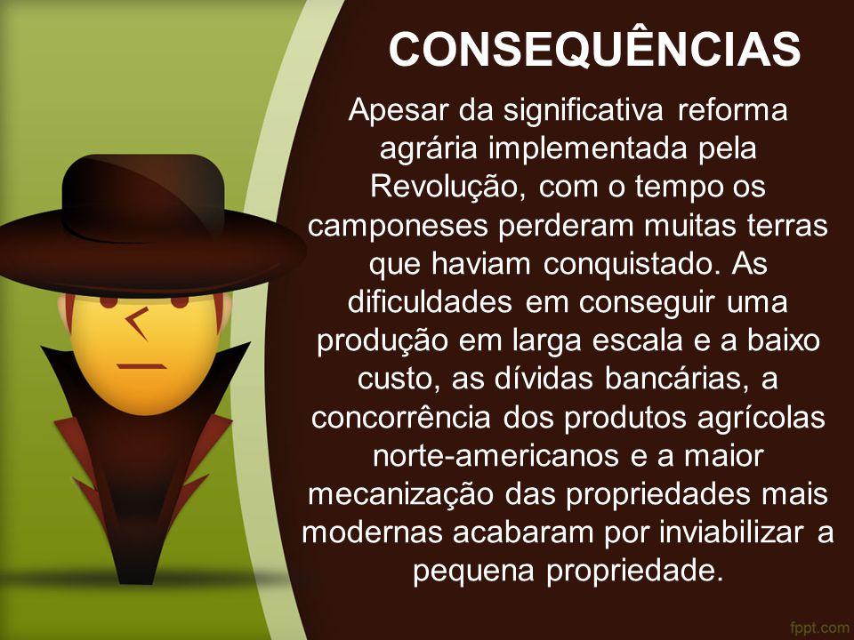 CONSEQUÊNCIAS Apesar da significativa reforma agrária implementada pela Revolução, com o tempo os camponeses perderam muitas terras que haviam conquistado.