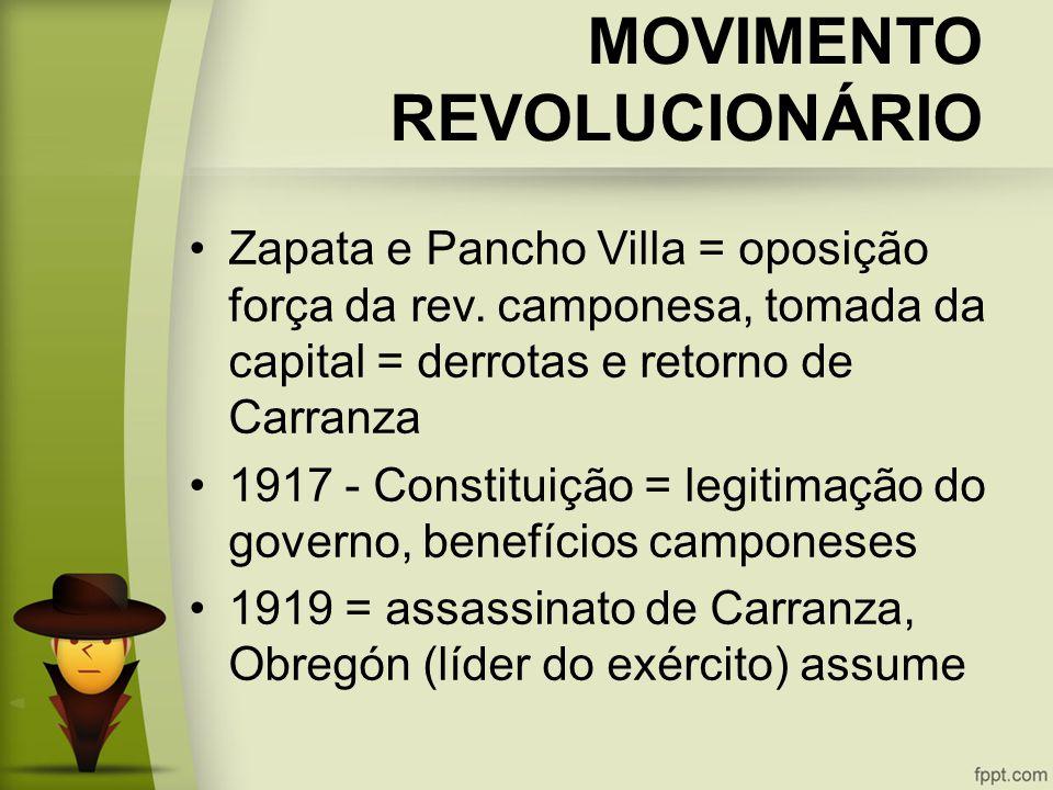 MOVIMENTO REVOLUCIONÁRIO Zapata e Pancho Villa = oposição força da rev.