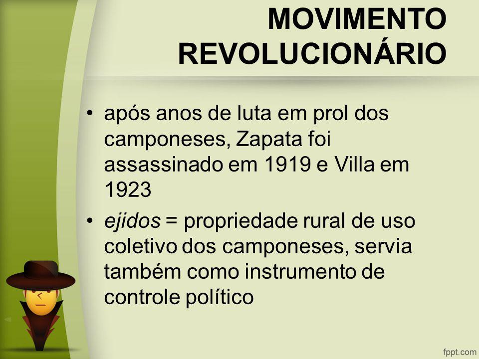 MOVIMENTO REVOLUCIONÁRIO após anos de luta em prol dos camponeses, Zapata foi assassinado em 1919 e Villa em 1923 ejidos = propriedade rural de uso coletivo dos camponeses, servia também como instrumento de controle político