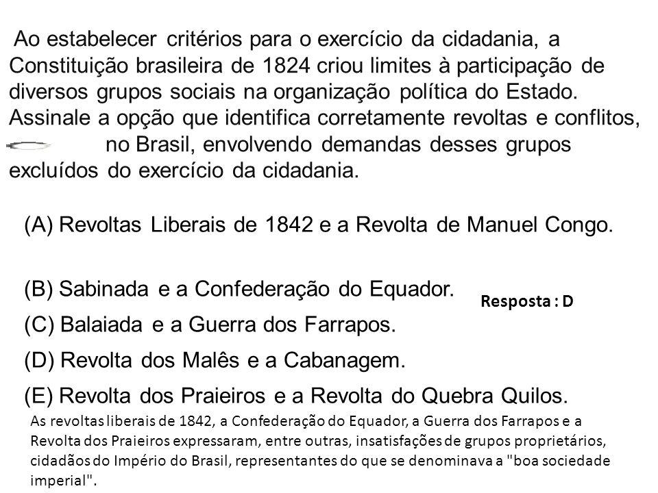 Ao estabelecer critérios para o exercício da cidadania, a Constituição brasileira de 1824 criou limites à participação de diversos grupos sociais na o