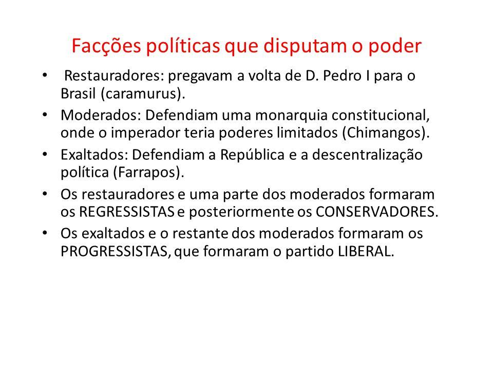 Facções políticas que disputam o poder Restauradores: pregavam a volta de D. Pedro I para o Brasil (caramurus). Moderados: Defendiam uma monarquia con