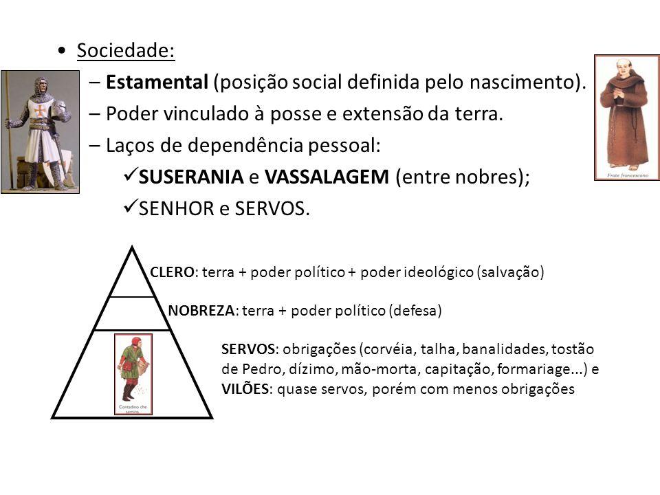 O FEUDALISMO Economia: agrícola, autossuficiente (subsistência), sem comércio e moeda. Unidade econômica básica: FEUDO. – MANSO SENHORIAL – castelo +