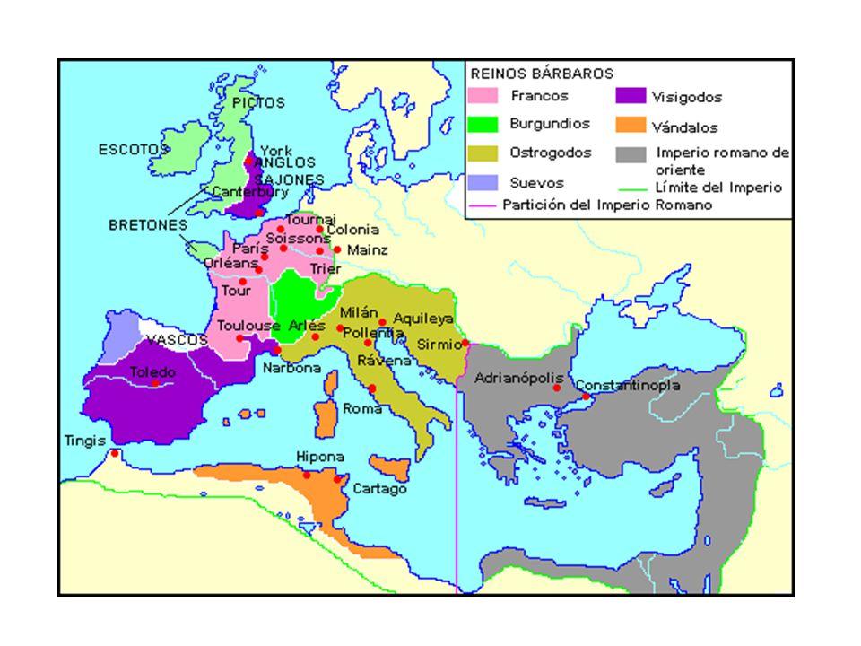 ORIENTE ALTA (séc.V a X) invasões bárbaras descentralização política ruralização da sociedade Francos: Merovíngios & Carolíngios; formação do feudalis