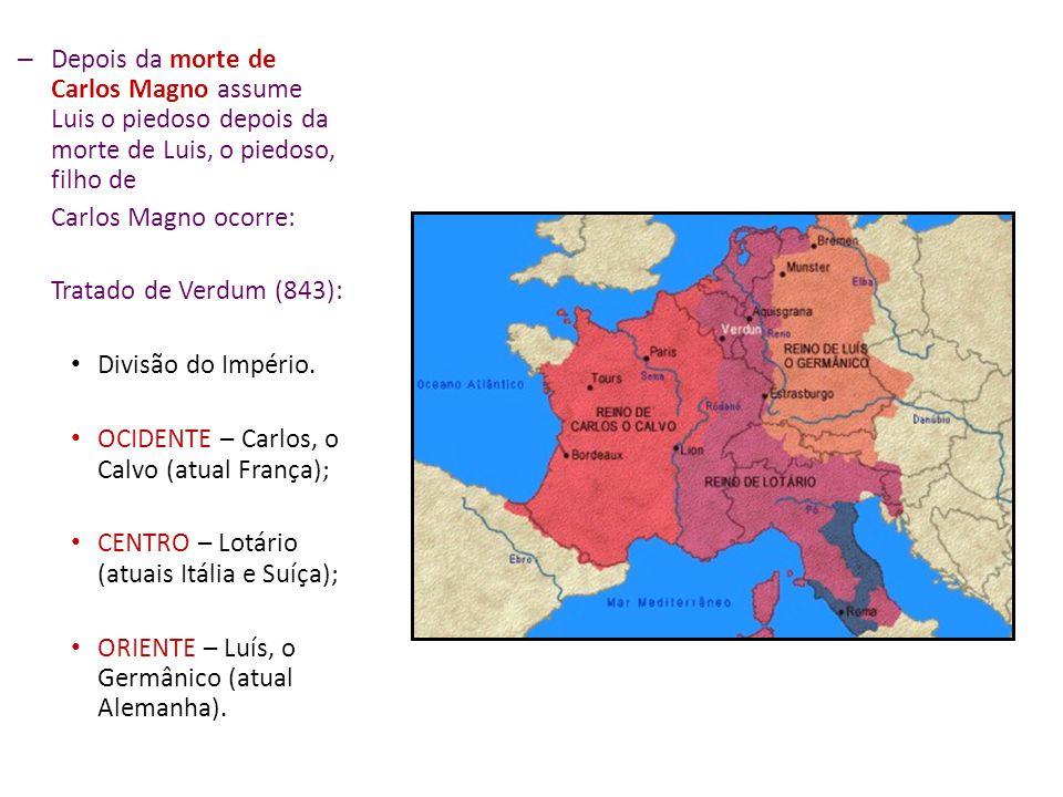Apoio da Igreja (expansão do cristianismo). Tentativa de reconstruir o Império Romano do Ocidente. Divisão imperial em 200 partes (condados, ducados e