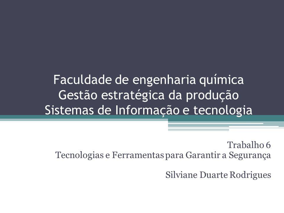 Faculdade de engenharia química Gestão estratégica da produção Sistemas de Informação e tecnologia Trabalho 6 Tecnologias e Ferramentas para Garantir a Segurança Silviane Duarte Rodrigues