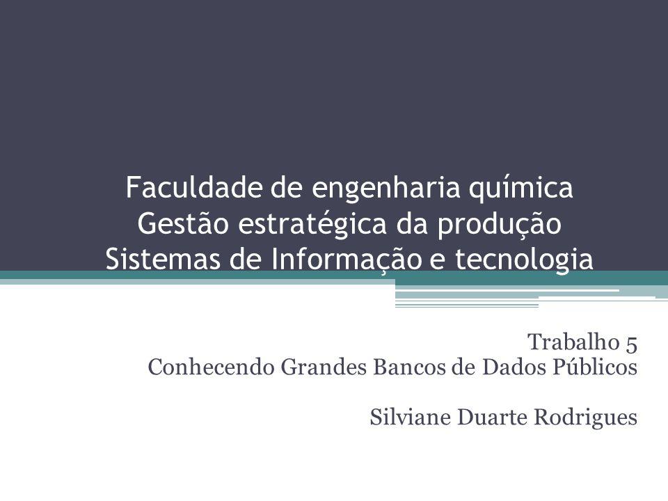 Faculdade de engenharia química Gestão estratégica da produção Sistemas de Informação e tecnologia Trabalho 5 Conhecendo Grandes Bancos de Dados Públicos Silviane Duarte Rodrigues