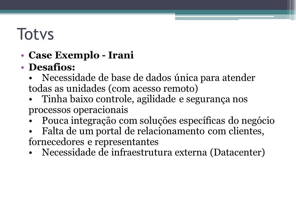 Totvs Case Exemplo - Irani Desafios: Necessidade de base de dados única para atender todas as unidades (com acesso remoto) Tinha baixo controle, agili