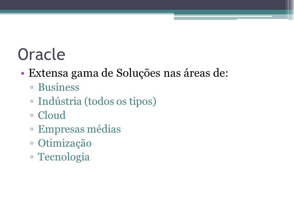 Oracle Extensa gama de Soluções nas áreas de: Business Indústria (todos os tipos) Cloud Empresas médias Otimização Tecnologia
