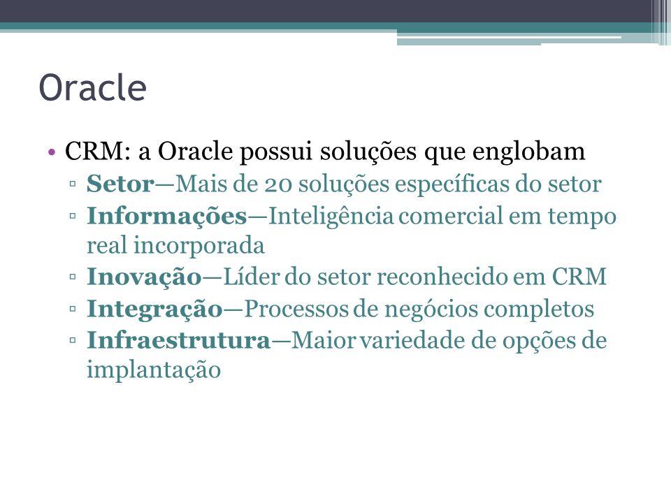 Oracle CRM: a Oracle possui soluções que englobam SetorMais de 20 soluções específicas do setor InformaçõesInteligência comercial em tempo real incorporada InovaçãoLíder do setor reconhecido em CRM IntegraçãoProcessos de negócios completos InfraestruturaMaior variedade de opções de implantação