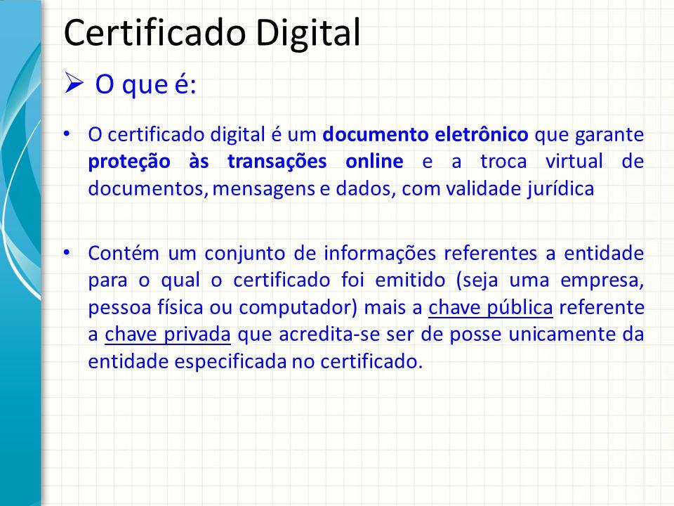 Certificado Digital Benefícios: Economia de tempo e redução de custos; Desburocratização de processos; Validade jurídica nos documentos eletrônicos; Possibilidade de eliminação de papéis; Autenticação na Internet com segurança; Combate a fraude e crimes digitais, inclusive o pishing;