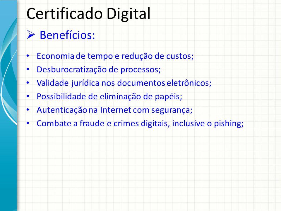 Certificado Digital Benefícios: Economia de tempo e redução de custos; Desburocratização de processos; Validade jurídica nos documentos eletrônicos; P