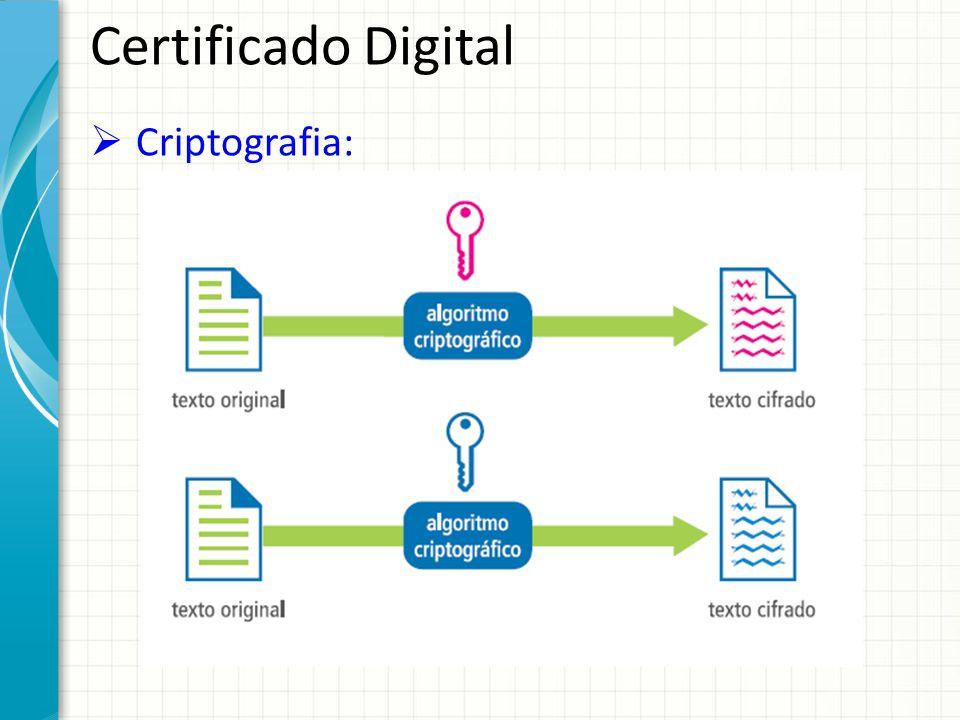 Certificado Digital Criptografia: 2 Tipos de criptografia: – Simétrica: realiza a cifragem e decifragem de uma informação atgravés de algoritmos que utilizam a mesma chave (necessidade de troca de chave).
