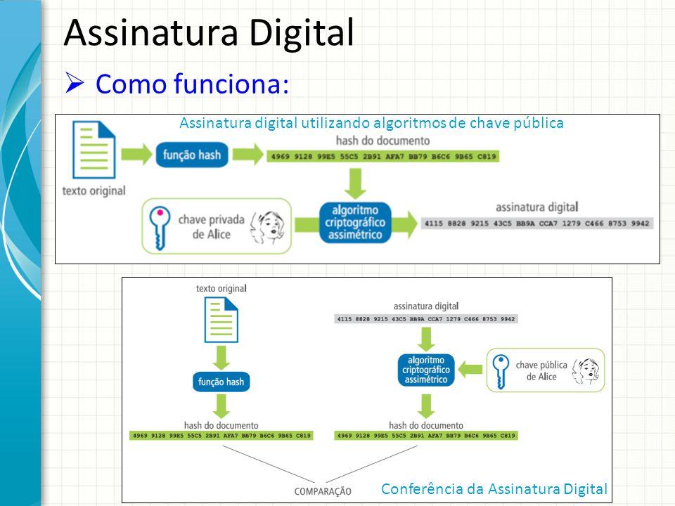 Assinatura Digital Como funciona: Assinatura digital utilizando algoritmos de chave pública Conferência da Assinatura Digital