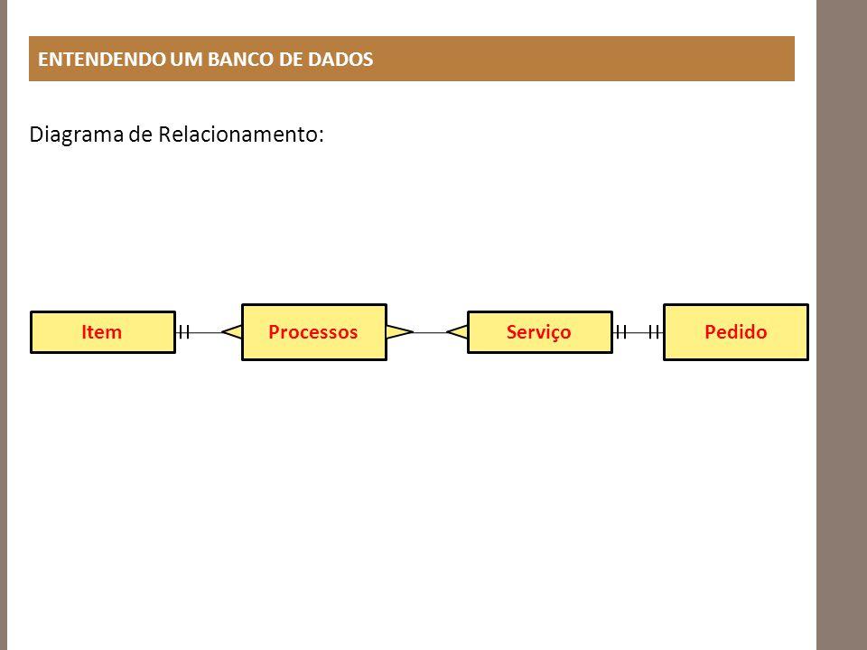 ENTENDENDO UM BANCO DE DADOS Diagrama de Relacionamento: Item Processos Serviço Pedido