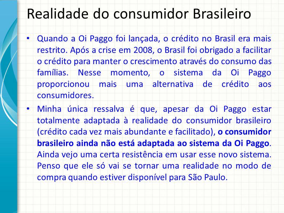 Realidade do consumidor Brasileiro Quando a Oi Paggo foi lançada, o crédito no Brasil era mais restrito. Após a crise em 2008, o Brasil foi obrigado a
