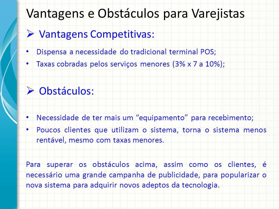 Vantagens e Obstáculos para Varejistas Vantagens Competitivas: Dispensa a necessidade do tradicional terminal POS; Taxas cobradas pelos serviços menor