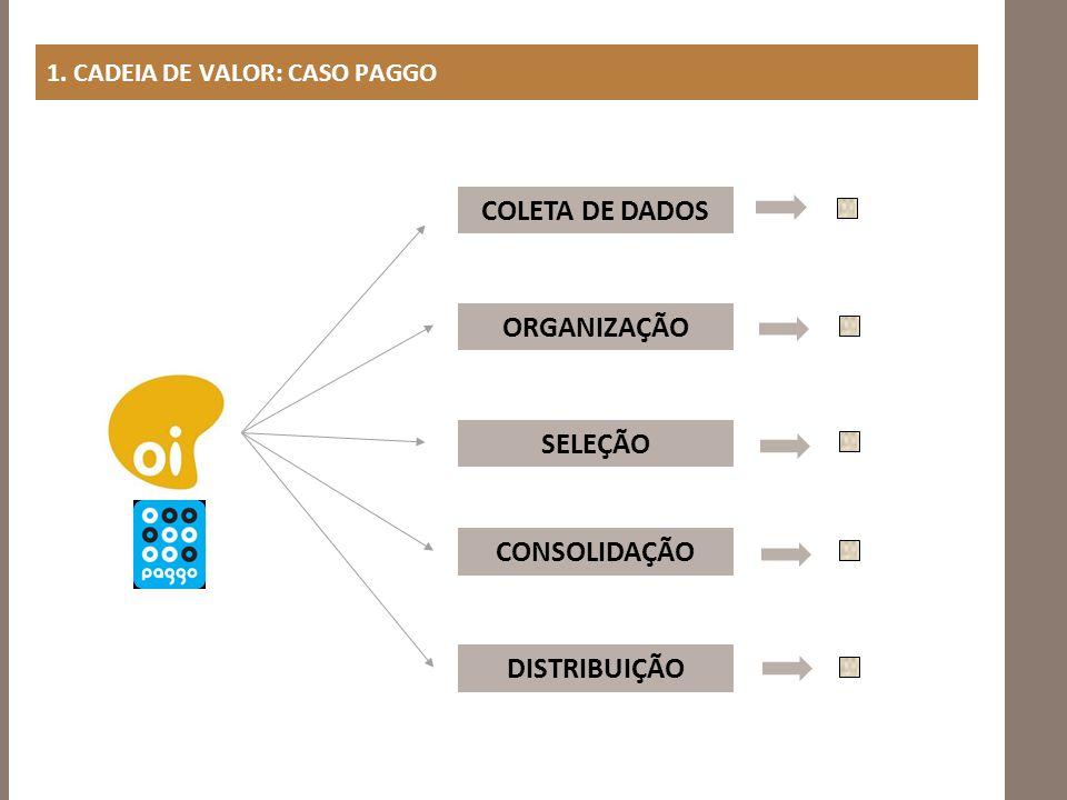 1. CADEIA DE VALOR: CASO PAGGO COLETA DE DADOS ORGANIZAÇÃO SELEÇÃO CONSOLIDAÇÃO DISTRIBUIÇÃO