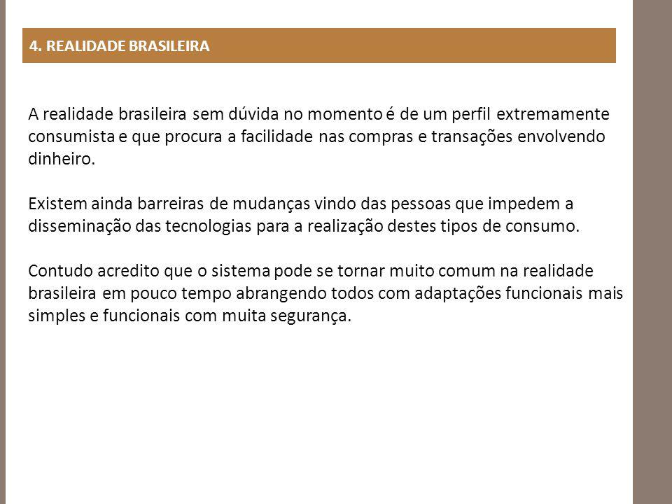 4. REALIDADE BRASILEIRA A realidade brasileira sem dúvida no momento é de um perfil extremamente consumista e que procura a facilidade nas compras e t
