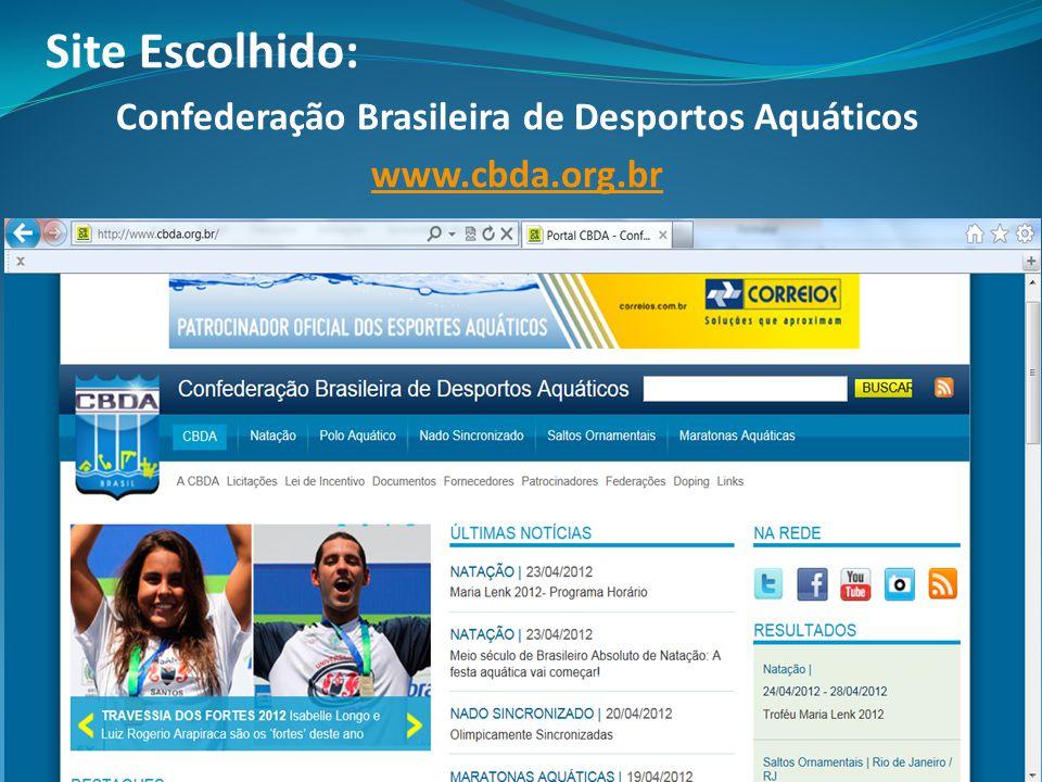 Site Escolhido: Confederação Brasileira de Desportos Aquáticos www.cbda.org.br