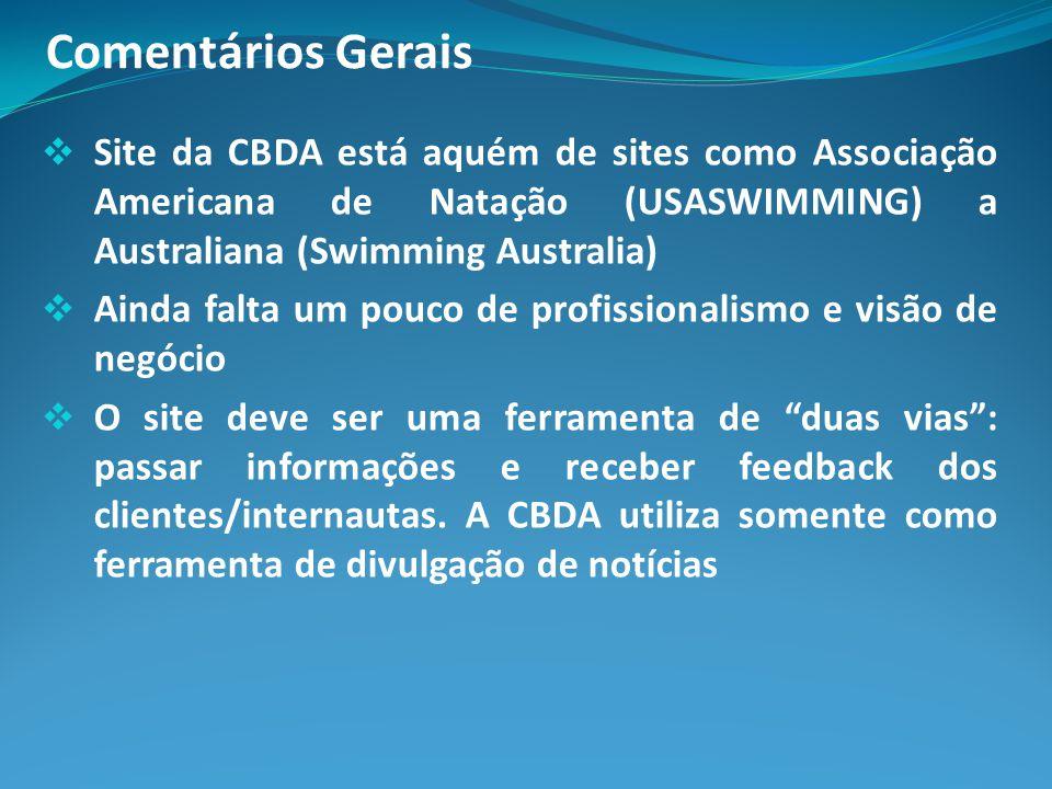 Comentários Gerais Site da CBDA está aquém de sites como Associação Americana de Natação (USASWIMMING) a Australiana (Swimming Australia) Ainda falta