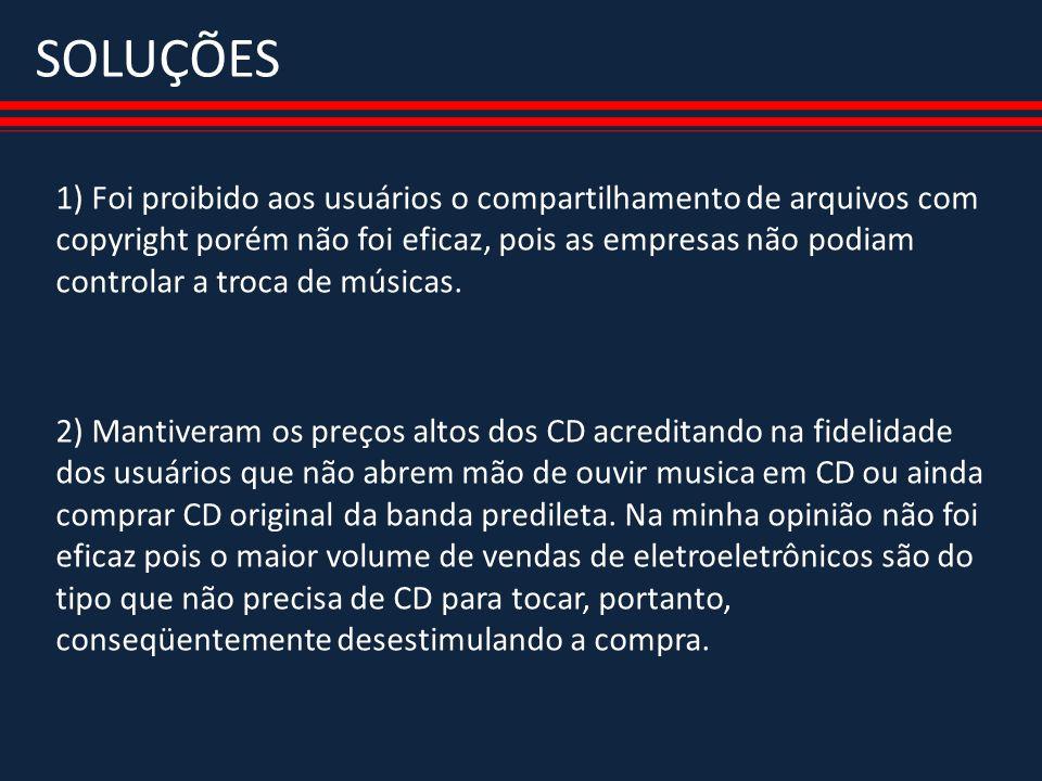 SOLUÇÕES 1) Foi proibido aos usuários o compartilhamento de arquivos com copyright porém não foi eficaz, pois as empresas não podiam controlar a troca de músicas.