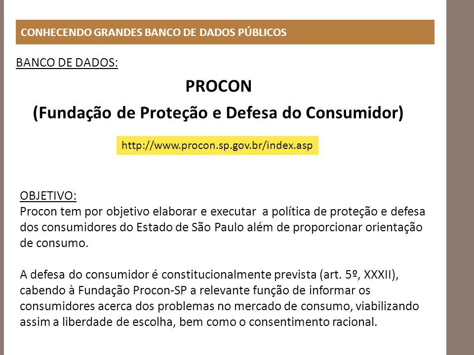 CONHECENDO GRANDES BANCO DE DADOS PÚBLICOS BANCO DE DADOS: PROCON (Fundação de Proteção e Defesa do Consumidor) http://www.procon.sp.gov.br/index.asp