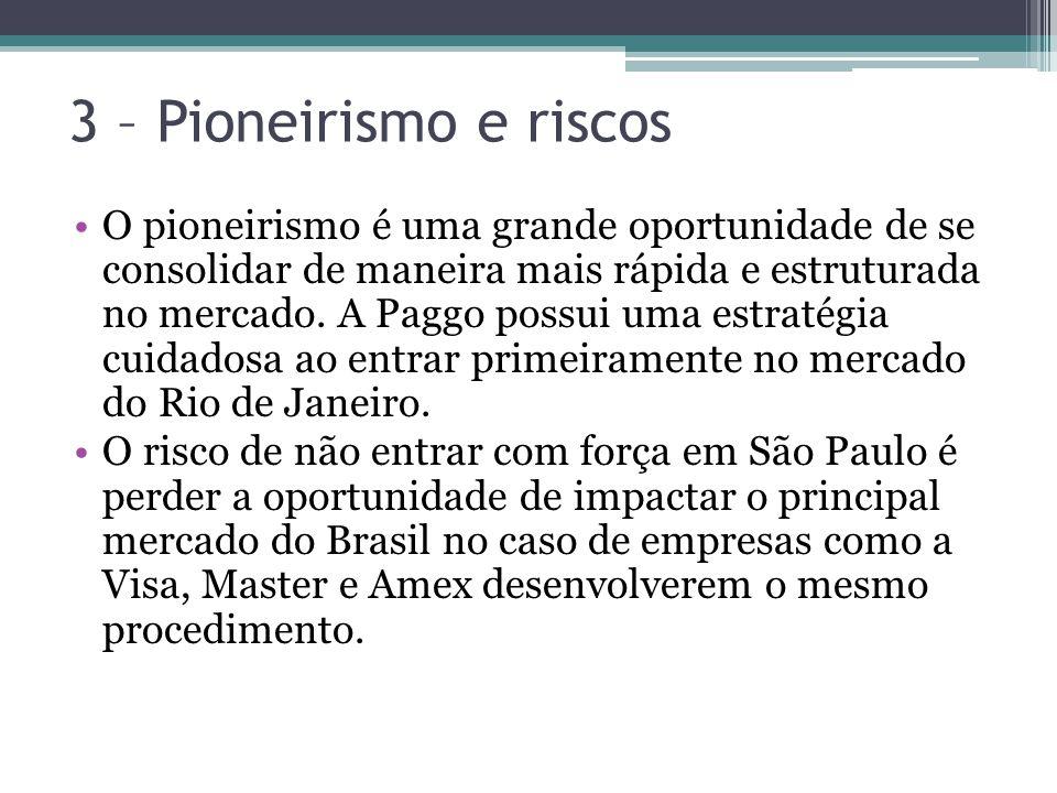 3 – Pioneirismo e riscos O pioneirismo é uma grande oportunidade de se consolidar de maneira mais rápida e estruturada no mercado. A Paggo possui uma