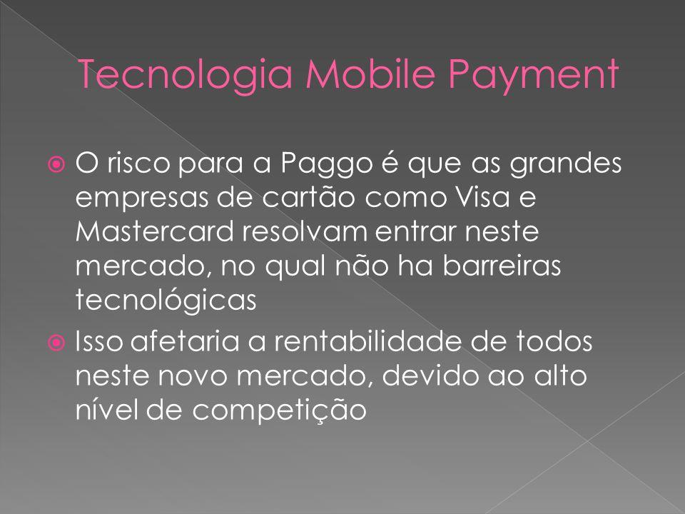 O risco para a Paggo é que as grandes empresas de cartão como Visa e Mastercard resolvam entrar neste mercado, no qual não ha barreiras tecnológicas Isso afetaria a rentabilidade de todos neste novo mercado, devido ao alto nível de competição