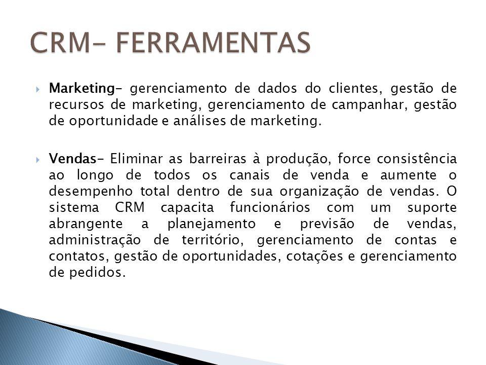 Marketing- gerenciamento de dados do clientes, gestão de recursos de marketing, gerenciamento de campanhar, gestão de oportunidade e análises de marke