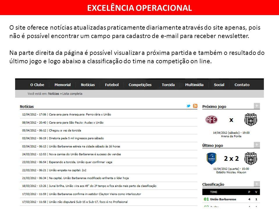 EXCELÊNCIA OPERACIONAL O site oferece notícias atualizadas praticamente diariamente através do site apenas, pois não é possível encontrar um campo para cadastro de e-mail para receber newsletter.
