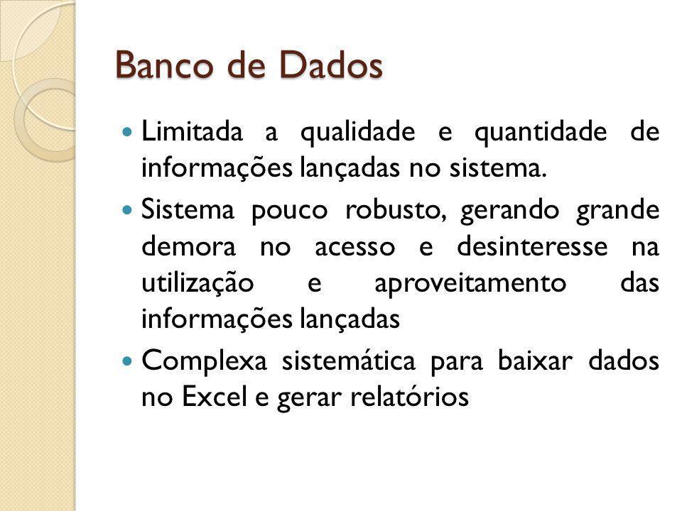 Banco de Dados Limitada a qualidade e quantidade de informações lançadas no sistema. Sistema pouco robusto, gerando grande demora no acesso e desinter