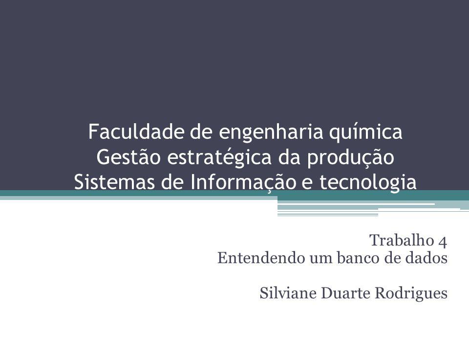 Faculdade de engenharia química Gestão estratégica da produção Sistemas de Informação e tecnologia Trabalho 4 Entendendo um banco de dados Silviane Du
