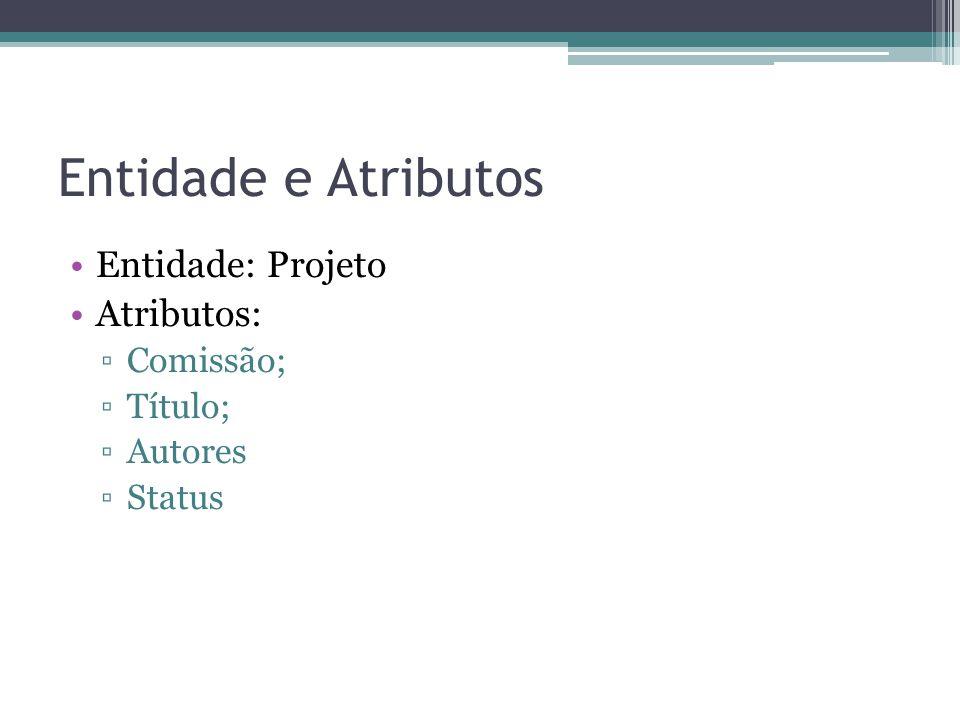 Entidade e Atributos Entidade: Projeto Atributos: Comissão; Título; Autores Status