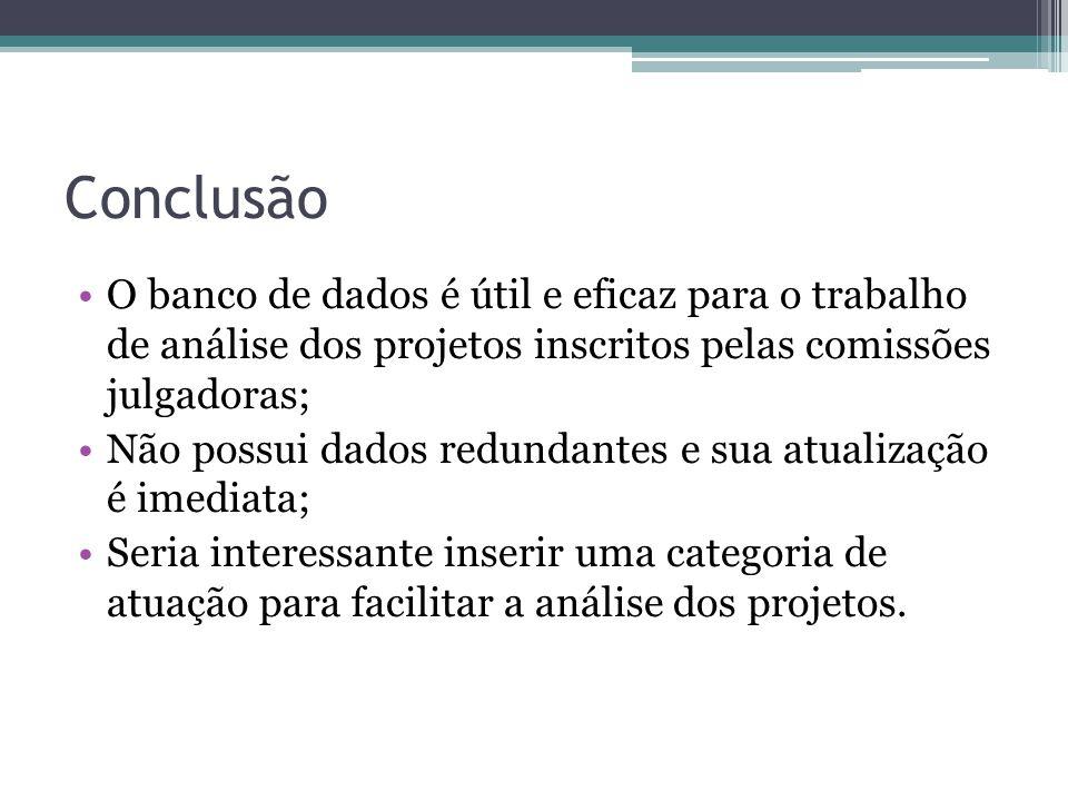 Conclusão O banco de dados é útil e eficaz para o trabalho de análise dos projetos inscritos pelas comissões julgadoras; Não possui dados redundantes