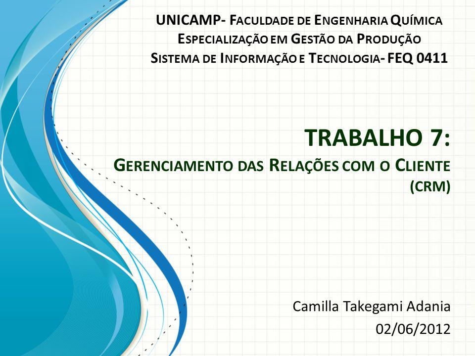 TRABALHO 7: G ERENCIAMENTO DAS R ELAÇÕES COM O C LIENTE (CRM) Camilla Takegami Adania 02/06/2012 UNICAMP- F ACULDADE DE E NGENHARIA Q UÍMICA E SPECIALIZAÇÃO EM G ESTÃO DA P RODUÇÃO S ISTEMA DE I NFORMAÇÃO E T ECNOLOGIA - FEQ 0411