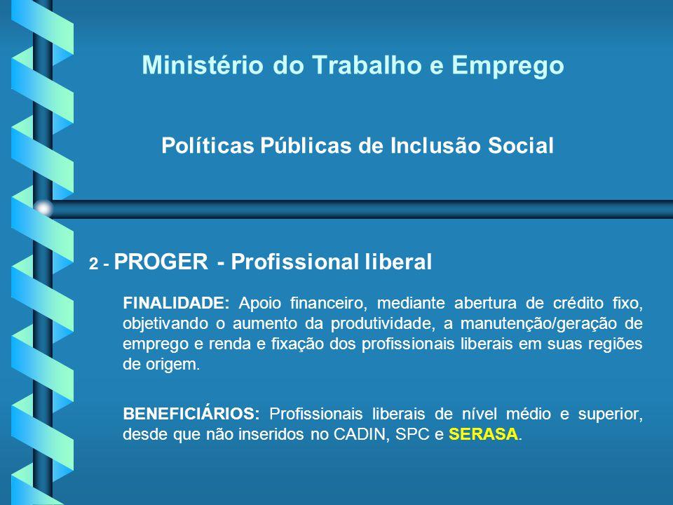 Ministério do Trabalho e Emprego Políticas Públicas de Inclusão Social 2 - PROGER - Profissional liberal FINALIDADE: Apoio financeiro, mediante abertu