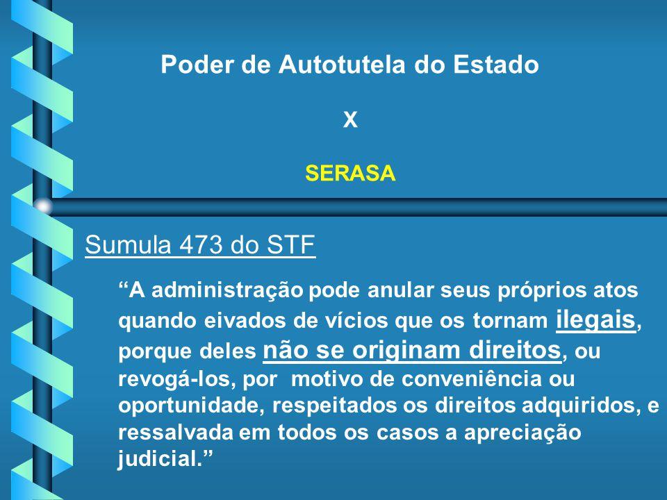 Poder de Autotutela do Estado X SERASA Sumula 473 do STF A administração pode anular seus próprios atos quando eivados de vícios que os tornam ilegais
