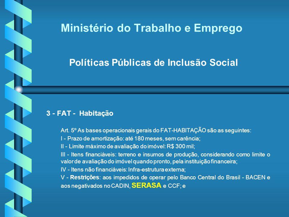 Ministério do Trabalho e Emprego Políticas Públicas de Inclusão Social 3 - FAT - Habitação Art. 5º As bases operacionais gerais do FAT-HABITAÇÃO são a